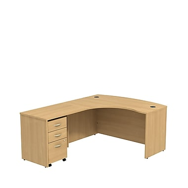 Bush Business Westfield 60W LH L-Bow Desk Shell with 3-Drawer Mobile Pedestal, Danish Oak