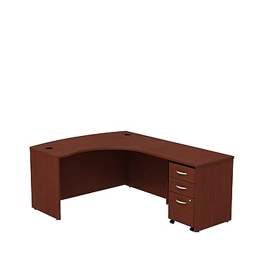 Bush Westfield 60in. RH L-Station w/ 3-Drawer Mobile Pedestal (B/B/F) - Cherry Mahogany