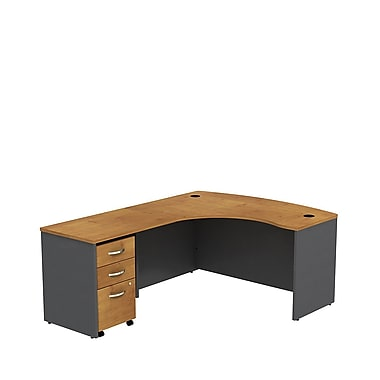 Bush Business Westfield 60W LH L-Bow Desk Shell with 3-Drawer Mobile Pedestal, Natural Cherry/Graphite Gray