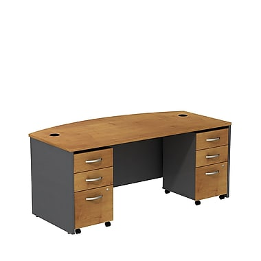 Bush – Coquille de bureau de 72 po à devant arqué avec caissons mobiles, collection Westfield, cerisier naturel/gris graphite