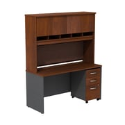 Bush Business Westfield 60W Desk/Credenza Shell with Hutch and 3-Dwr Mobile Pedestal, Hansen Cherry/Graphite Gray