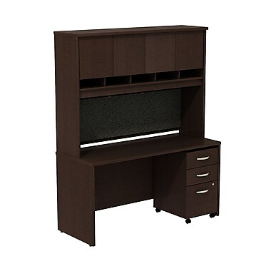 Bush Westfield 60in. Credenza Shell w/ Hutch & 3-Drawer Mobile Pedestal (B/B/F) - Mocha Cherry