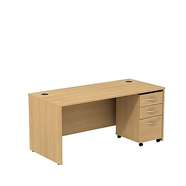 Bush – Coquille de bureau Westfield de 66 po de largeur avec caisson mobile à 3 tiroirs, chêne danois