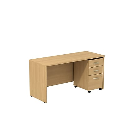 Bush Business Westfield 60W Desk/Credenza Shell with 3-Drawer Mobile Pedestal, Danish Oak