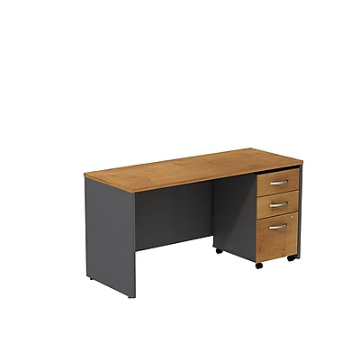 Bush Westfield 60in.W Credenza Shell Desk w/ 3 Drawer Mobile Ped (B/B/F) - Natural Cherry/Graphite Gray