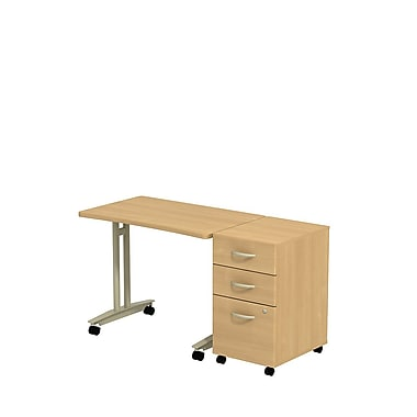 Bush Westfield Adjustable Height Mobile Table with 3-Drawer Mobile Pedestal, Danish Oak