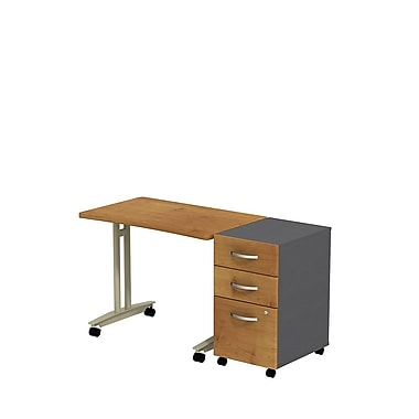 Bush Westfield Adjustable Height Mobile Table with Mobile Pedestal, 27 7/9