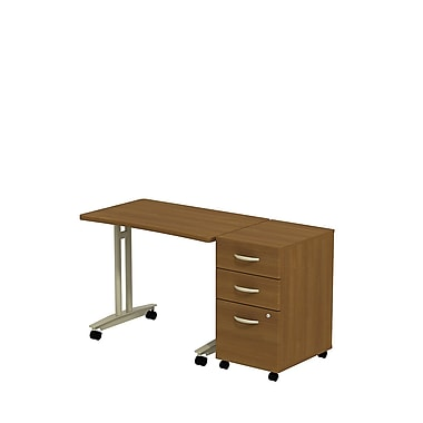 Bush Westfield Adjustable Height Mobile Table with 3-Drawer Mobile Pedestal, Cafe Oak