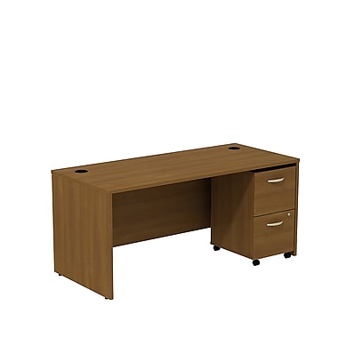 Bush Westfield 66in.W Shell Desk w/ 2-Drawer Mobile Ped (F/F) - Warm Oak