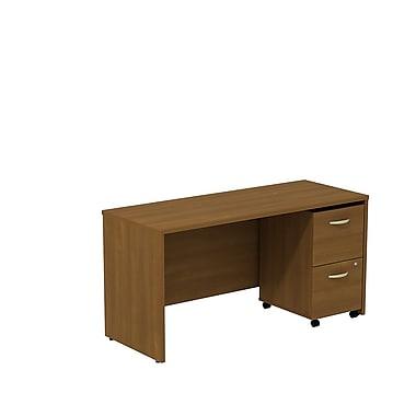 Bush – Bahut/bureau de 60 po de largeur Westfield avec caisson mobile à 2 tiroirs, chêne café