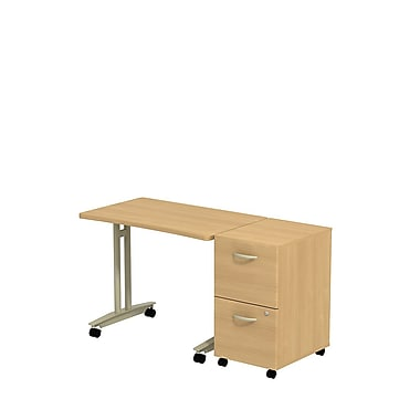 Bush Westfield Adjustable Height Mobile Table with 2-Drawer Mobile Pedestal, Danish Oak