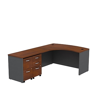 Bush Business Westfield 60W LH Bowfront L-Desk, 2 and 3 Drawer Mobile Pedestals, Hansen Cherry/Graphite Gray