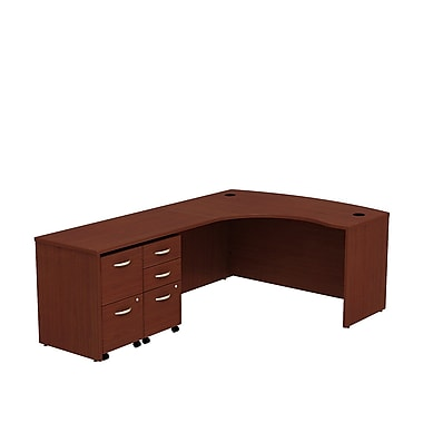 Bush Business Westfield 60W LH Bowfront L-Desk, 2 and 3 Drawer Mobile Pedestals, Cherry Mahogany
