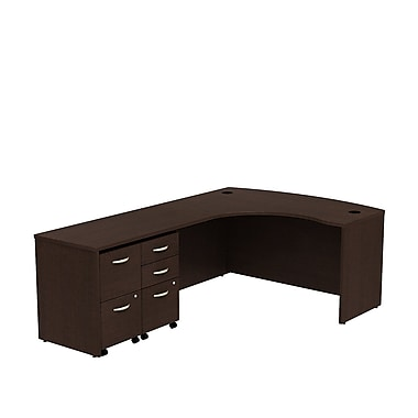 Bush Westfield 60in. Bowfront LH L-Station w/ 2-Drawer (F/F) & 3-Drawer (B/B/F) Mobile Pedestals - Mocha Cherry