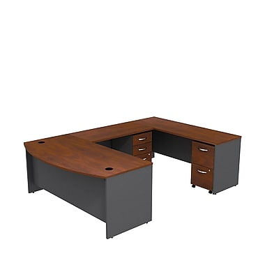 Bush Westfield 72in. Bowfront U-Station Desk - Hansen Cherry/Graphite Gray