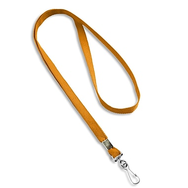 IDville® Blank Flat Woven Lanyards With Metal J-Hook, Orange