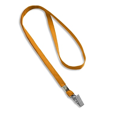 IDville® Blank Flat Woven Lanyards With Metal Bulldog Clip, Orange