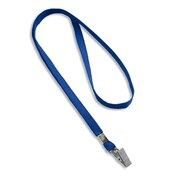 "IDville 1341512RBC31 36"" Blank Flat Woven Lanyards with Bulldog Clip, Royal Blue, 25/Pack"