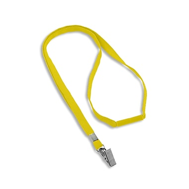 IDville® Blank Flat Woven Breakaway Lanyards With Metal Bulldog Clip, Yellow