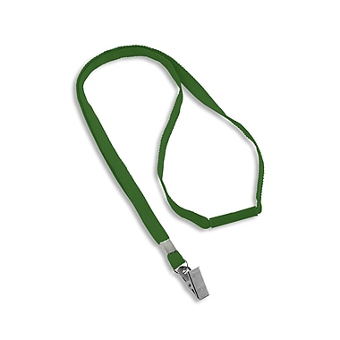 IDville® Blank Flat Woven Breakaway Lanyards With Metal Bulldog Clip, Green