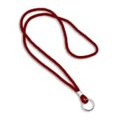 IDville® Blank Round Woven Lanyards With Metal Split Ring, Red