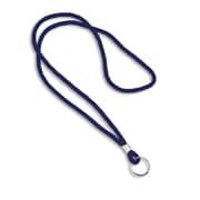 IDville® Blank Round Woven Lanyards With Metal Split Ring, Blue