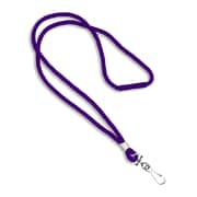"IDville 1343502PRH31 36"" Blank Round Woven Breakaway Lanyards with J-Hook, Purple, 25/Pack"