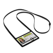 IDville 1346874BK31 Horizontal Badge Holders with Flexible Lanyard, Black, 10/Pack