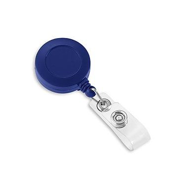 IDville 1342811BL31 Round Slide Clip Solid Color Badge Reels, Blue, 25/Pack
