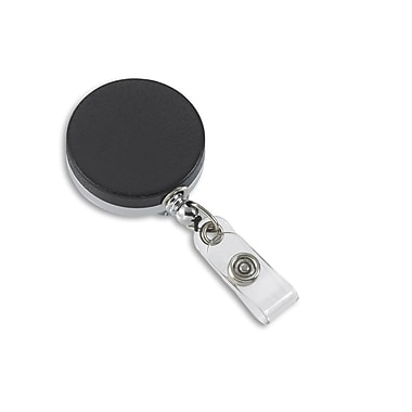 IDville 134674631 Round Slide Clip Badge Reels, Black, 10/Pack