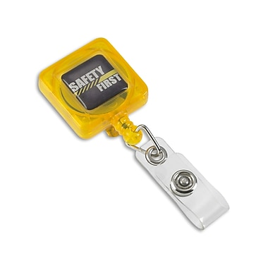 IDville 134751531 Square Slide Clip Safety First Badge Reels, Yellow, 25/Pack