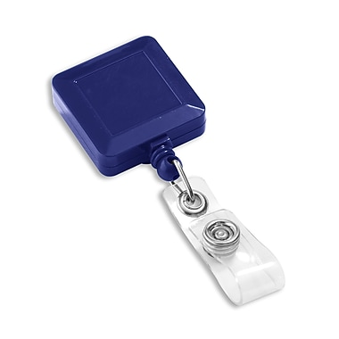 IDville 1343770BL31 Square Slide Clip Badge Reels, Navy Blue, 25/Pack