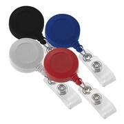 IDville 134670931 Round Slide Clip Solid Color Badge Reels, Assorted, 25/Pack