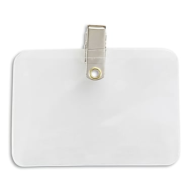 IDville® Clear Vinyl Horizontal Credit Card Size Badge Holder With Clip