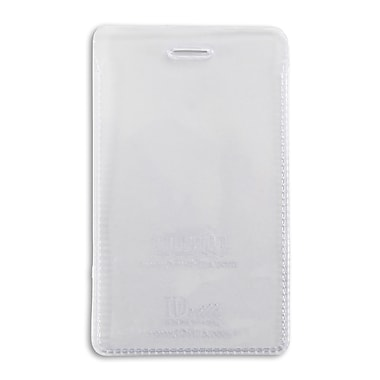 IDville® Clear Vinyl Vertical Credit Card Size Badge Holder With Slot