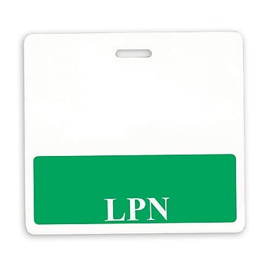 IDville 134254531 LPN Position Identity Cards, White/Green, 25/Pack