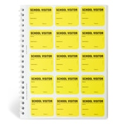 IDville 134678331 Spiral-Bound Temporary School Visitor Login Book, Yellow