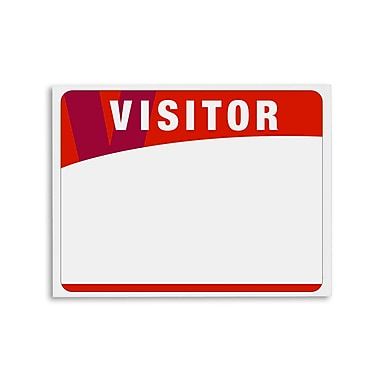 IDville® Blank Adhesive Visitor Label, Red