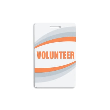 IDville 134750231 Volunteer Pre-Printed ID Cards, Orange, 25/Pack