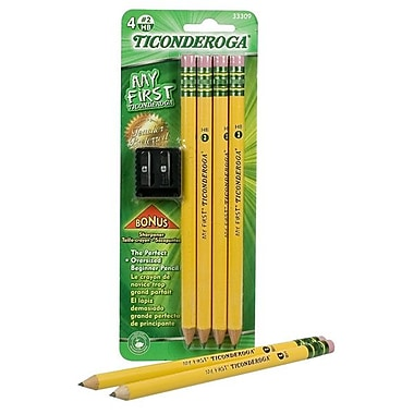 Dixon Ticonderoga My First Pencil, Bonus Pencil Sharpener, 4/Pack