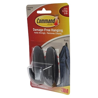 Command™ Medium Designer Hooks, Black, 2/Pack