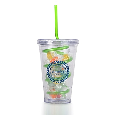Baudville® Candy-Filled Twist Top Tumbler With Straw, Thanks for All You Do!