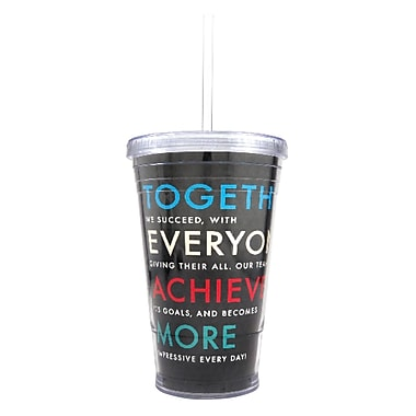 Baudville® Twist Top Tumbler With Straw, T.E.A.M
