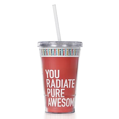 Baudville® Twist Top Tumbler With Straw, Exclamations - Radiate Pure Awesome