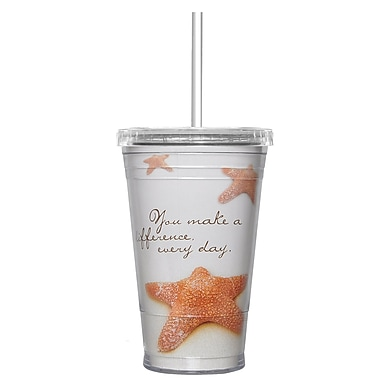 Baudville® Twist Top Tumbler With Straw, Starfish: Making a Difference