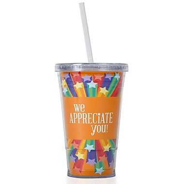 Baudville® Twist Top Tumbler With Straw, We Appreciate You