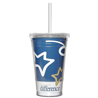 Baudville® Twist Top Tumbler With Straw, You Make the Difference