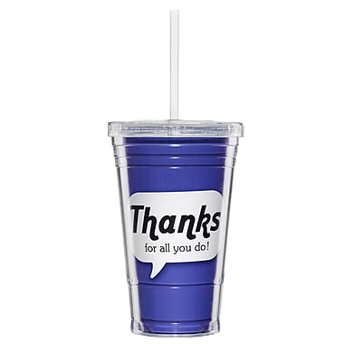 Baudville® Twist Top Tumbler With Straw, Positive Praise Thanks
