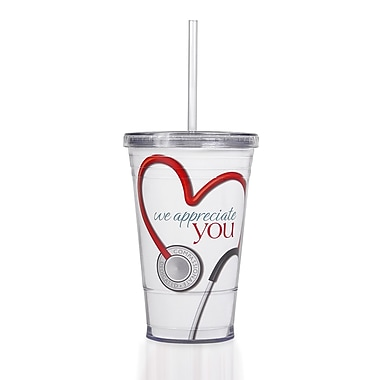 Baudville® Twist Top Tumbler With Straw, Stethoscope We Appreciate You