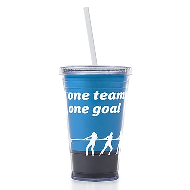 Baudville® Twist Top Tumbler With Straw, One Team One Goal
